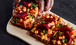 Beet and chicpea tartine